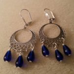 Cobalt Blue Teardrops on Heart Hoop Earrings